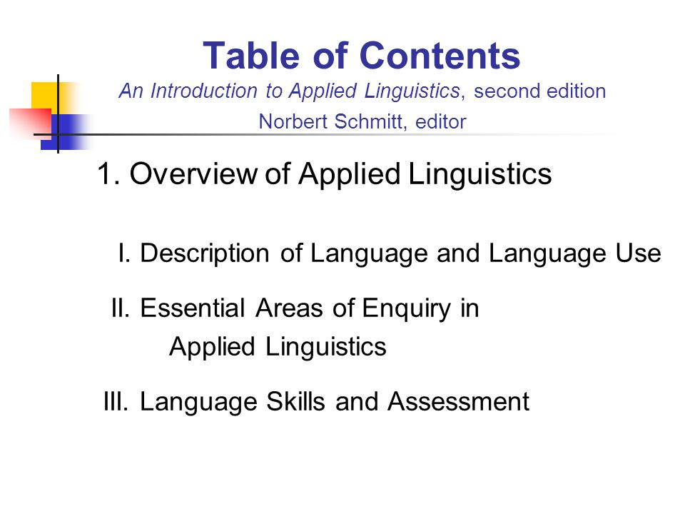 Table of Contents An Introduction to Applied Linguistics, second edition Norbert Schmitt, editor 1. Overview of Applied Linguistics I. Description of