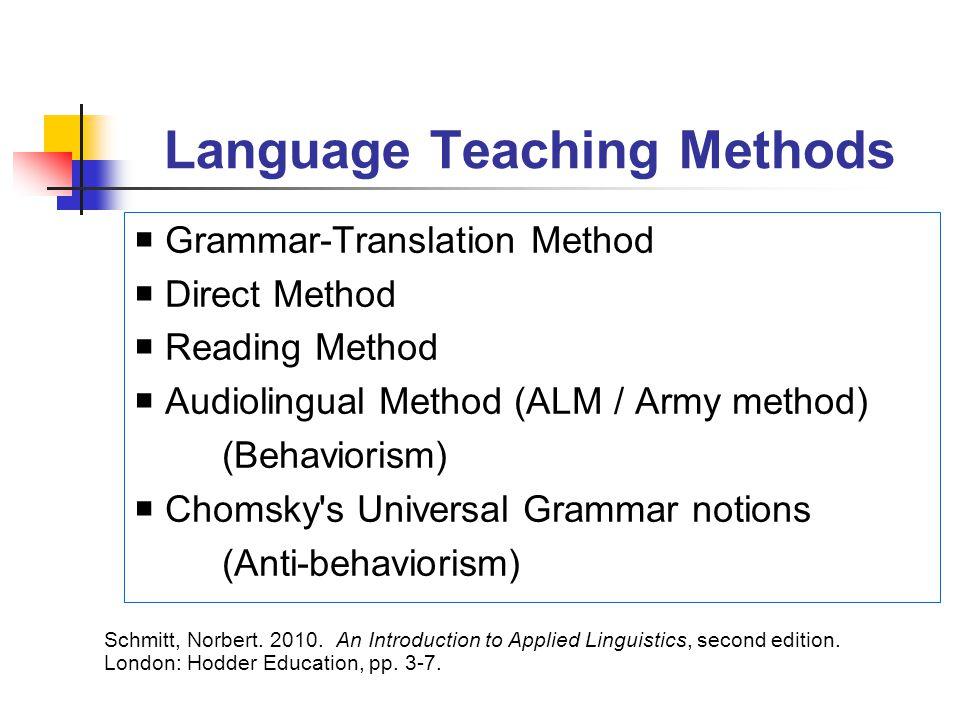 Language Teaching Methods  Grammar-Translation Method  Direct Method  Reading Method  Audiolingual Method (ALM / Army method) (Behaviorism)  Chom