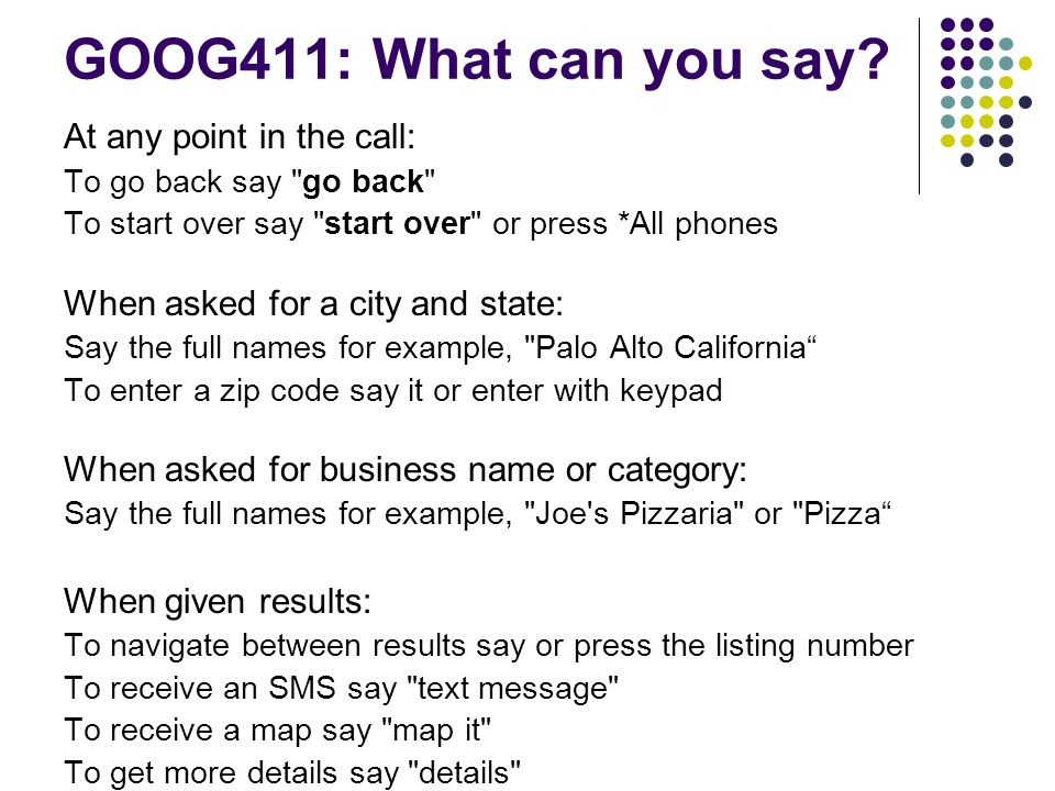 GOOG411: What can you say.