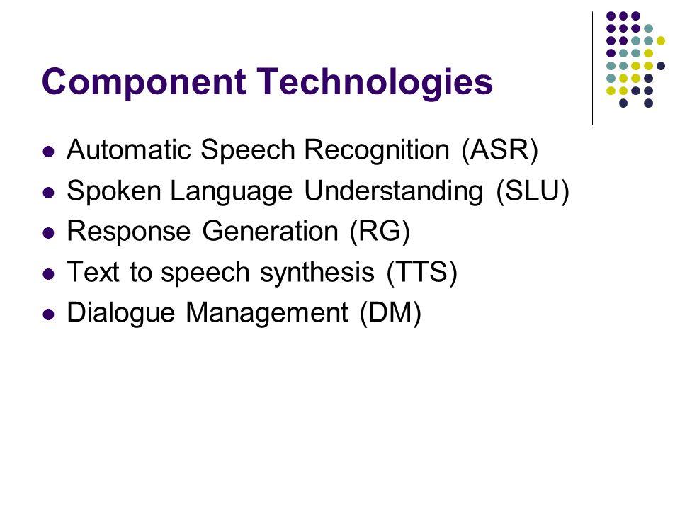 Component Technologies Automatic Speech Recognition (ASR) Spoken Language Understanding (SLU) Response Generation (RG) Text to speech synthesis (TTS) Dialogue Management (DM)
