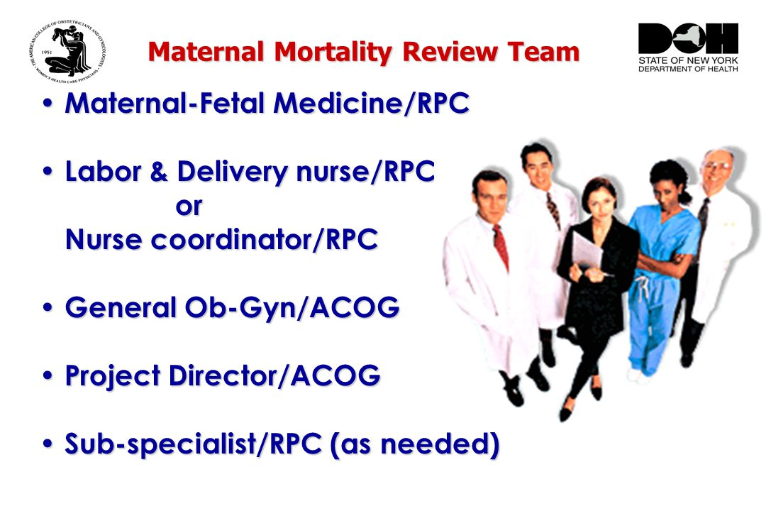 Maternal Mortality Review Team Maternal-Fetal Medicine/RPC Maternal-Fetal Medicine/RPC Labor & Delivery nurse/RPC Labor & Delivery nurse/RPCor Nurse coordinator/RPC General Ob-Gyn/ACOG General Ob-Gyn/ACOG Project Director/ACOG Project Director/ACOG Sub-specialist/RPC (as needed) Sub-specialist/RPC (as needed)