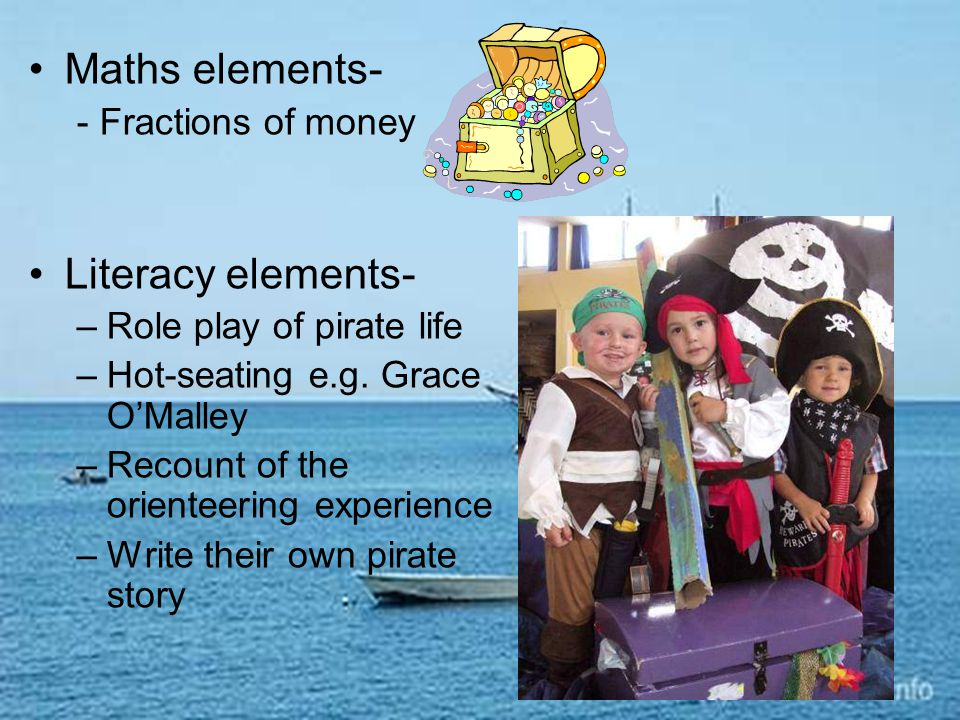 Maths elements- - Fractions of money Literacy elements- –Role play of pirate life –Hot-seating e.g.
