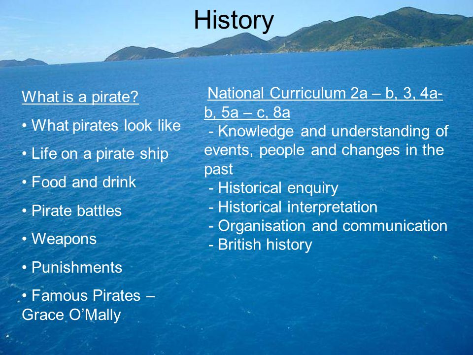 History What is a pirate? What pirates look like Life on a pirate ship Food and drink Pirate battles Weapons Punishments Famous Pirates – Grace O'Mall