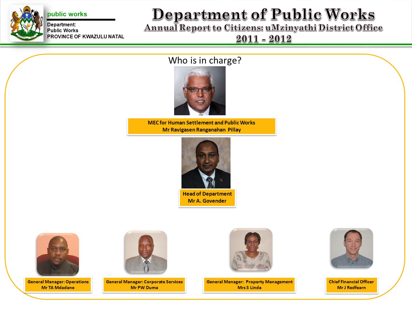 public works Department: Public Works PROVINCE OF KWAZULU NATAL Who is in charge.