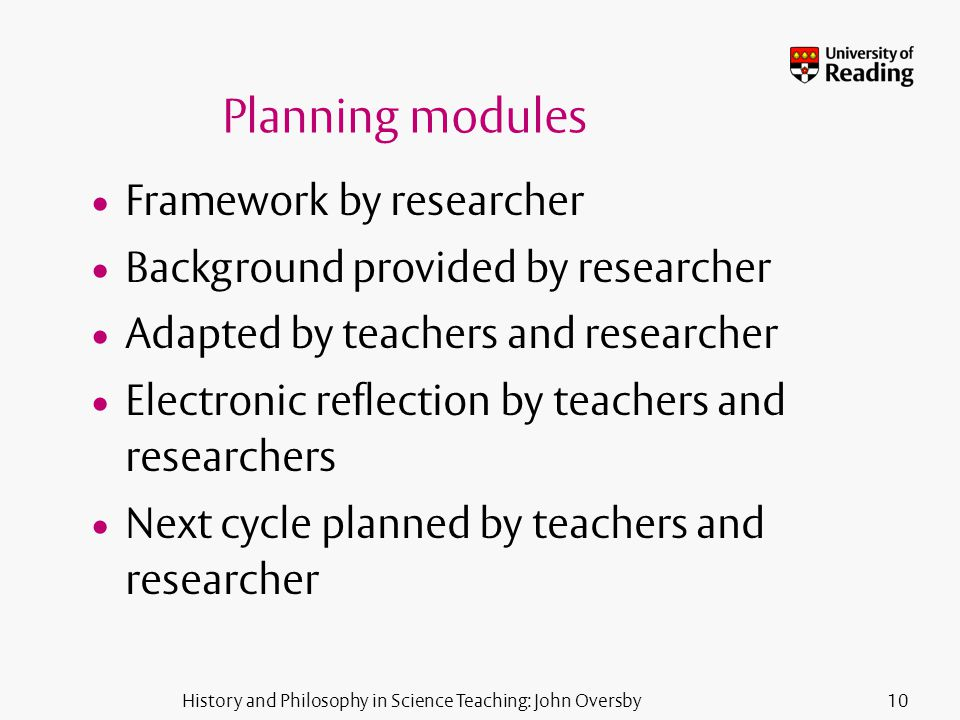 History and Philosophy in Science Teaching: John Oversby10 Planning modules Framework by researcher Background provided by researcher Adapted by teachers and researcher Electronic reflection by teachers and researchers Next cycle planned by teachers and researcher