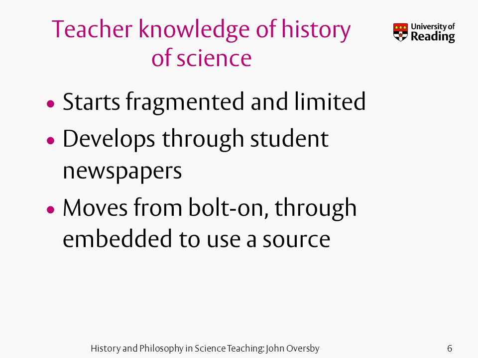 History and Philosophy in Science Teaching: John Oversby6 Teacher knowledge of history of science Starts fragmented and limited Develops through student newspapers Moves from bolt-on, through embedded to use a source