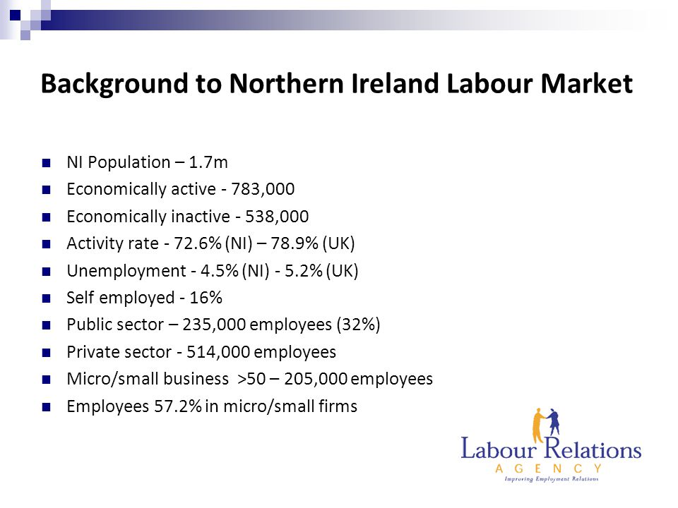 Background to Northern Ireland Labour Market NI Population – 1.7m Economically active - 783,000 Economically inactive - 538,000 Activity rate - 72.6% (NI) – 78.9% (UK) Unemployment - 4.5% (NI) - 5.2% (UK) Self employed - 16% Public sector – 235,000 employees (32%) Private sector - 514,000 employees Micro/small business >50 – 205,000 employees Employees 57.2% in micro/small firms