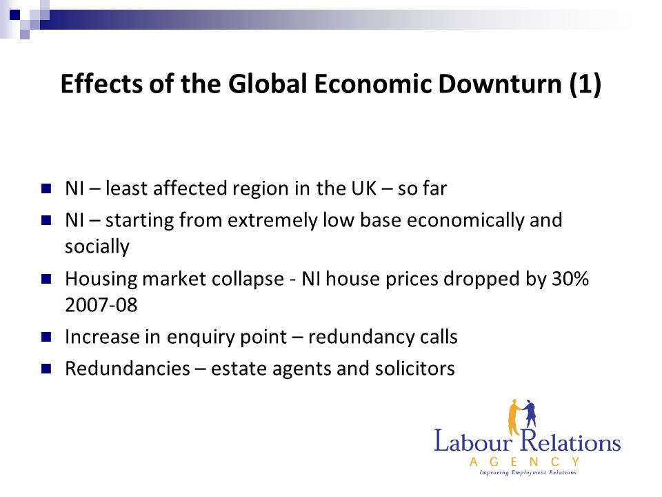 Effects of the Global Economic Downturn (1) NI – least affected region in the UK – so far NI – starting from extremely low base economically and socially Housing market collapse - NI house prices dropped by 30% 2007-08 Increase in enquiry point – redundancy calls Redundancies – estate agents and solicitors