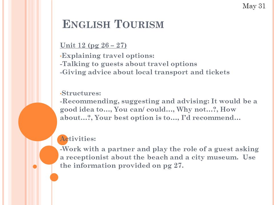 E NGLISH T OURISM Unit 12 (pg 26 – 27) Explaining travel options: -Talking to guests about travel options -Giving advice about local transport and tickets Structures: -Recommending, suggesting and advising: It would be a good idea to…, You can/ could…, Why not…?, How about…?, Your best option is to…, I'd recommend… Activities: -Work with a partner and play the role of a guest asking a receptionist about the beach and a city museum.