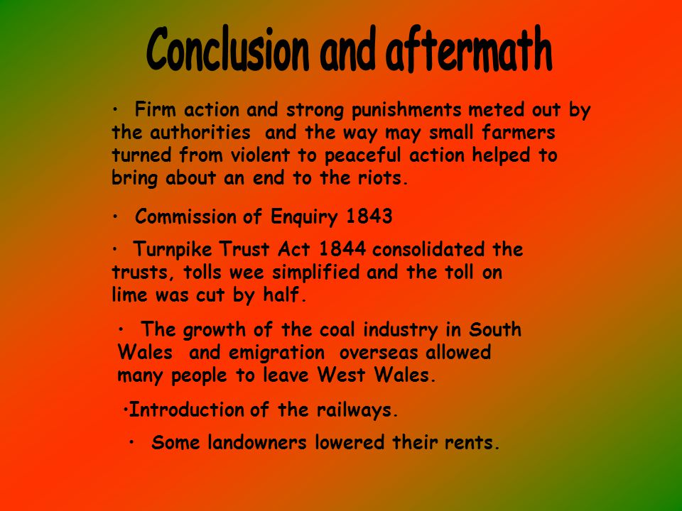 Firm action and strong punishments meted out by the authorities and the way may small farmers turned from violent to peaceful action helped to bring about an end to the riots.