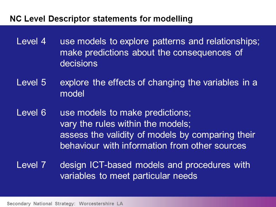 Secondary National Strategy: Worcestershire LA NC Level Descriptor statements for modelling Level 4use models to explore patterns and relationships; make predictions about the consequences of decisions Level 5explore the effects of changing the variables in a model Level 6use models to make predictions; vary the rules within the models; assess the validity of models by comparing their behaviour with information from other sources Level 7design ICT-based models and procedures with variables to meet particular needs