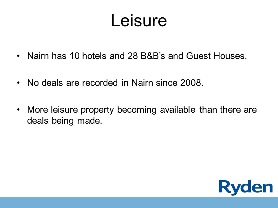 Leisure Nairn has 10 hotels and 28 B&B's and Guest Houses.