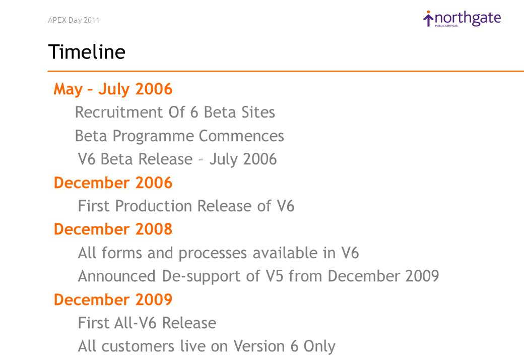 APEX Day 2011 Timeline May – July 2006 Recruitment Of 6 Beta Sites Beta Programme Commences V6 Beta Release – July 2006 December 2006 First Production Release of V6 December 2008 All forms and processes available in V6 Announced De-support of V5 from December 2009 December 2009 First All-V6 Release All customers live on Version 6 Only
