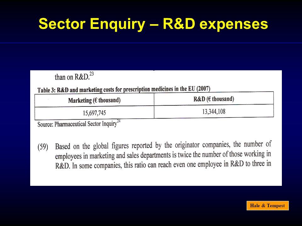 Hale & Tempest Sector Enquiry – R&D expenses