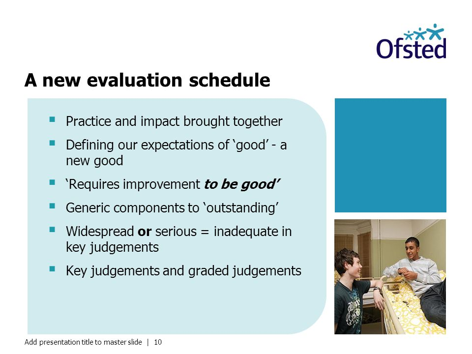 Add presentation title to master slide | 10  Practice and impact brought together  Defining our expectations of 'good' - a new good  'Requires improvement to be good'  Generic components to 'outstanding'  Widespread or serious = inadequate in key judgements  Key judgements and graded judgements A new evaluation schedule