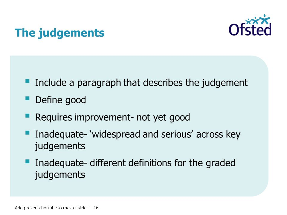 Add presentation title to master slide | 16 The judgements  Include a paragraph that describes the judgement  Define good  Requires improvement- not yet good  Inadequate- 'widespread and serious' across key judgements  Inadequate- different definitions for the graded judgements