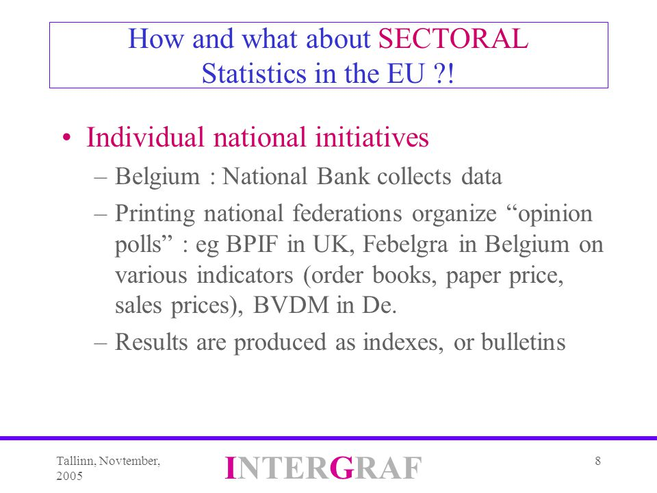 Tallinn, Novtember, 2005 INTERGRAF 8 How and what about SECTORAL Statistics in the EU ?.