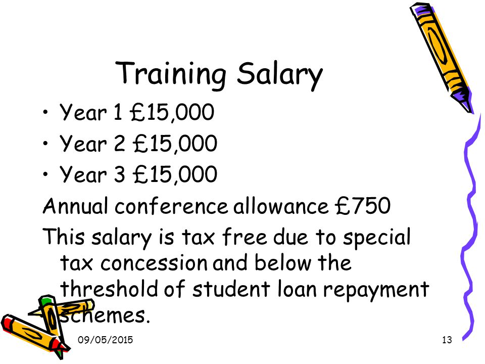 09/05/201513 Training Salary Year 1 £15,000 Year 2 £15,000 Year 3 £15,000 Annual conference allowance £750 This salary is tax free due to special tax concession and below the threshold of student loan repayment schemes.