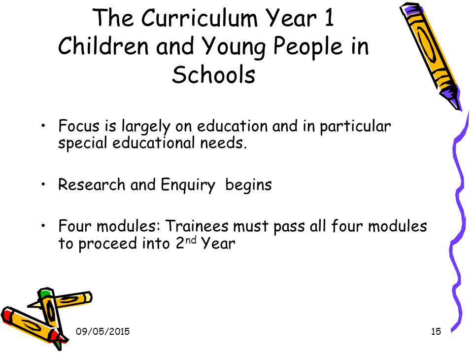 09/05/201515 The Curriculum Year 1 Children and Young People in Schools Focus is largely on education and in particular special educational needs.
