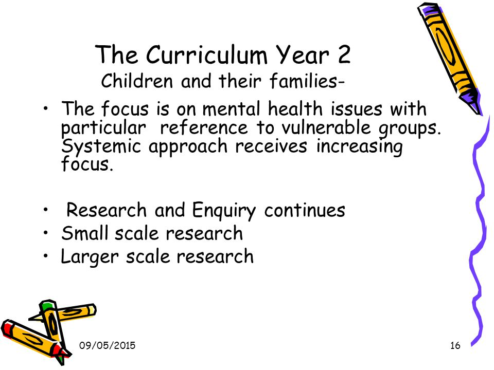 09/05/201516 The Curriculum Year 2 Children and their families- The focus is on mental health issues with particular reference to vulnerable groups.