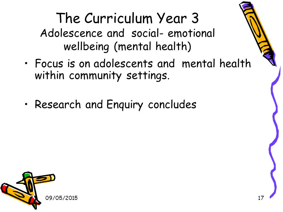 09/05/201517 The Curriculum Year 3 Adolescence and social- emotional wellbeing (mental health) Focus is on adolescents and mental health within community settings.