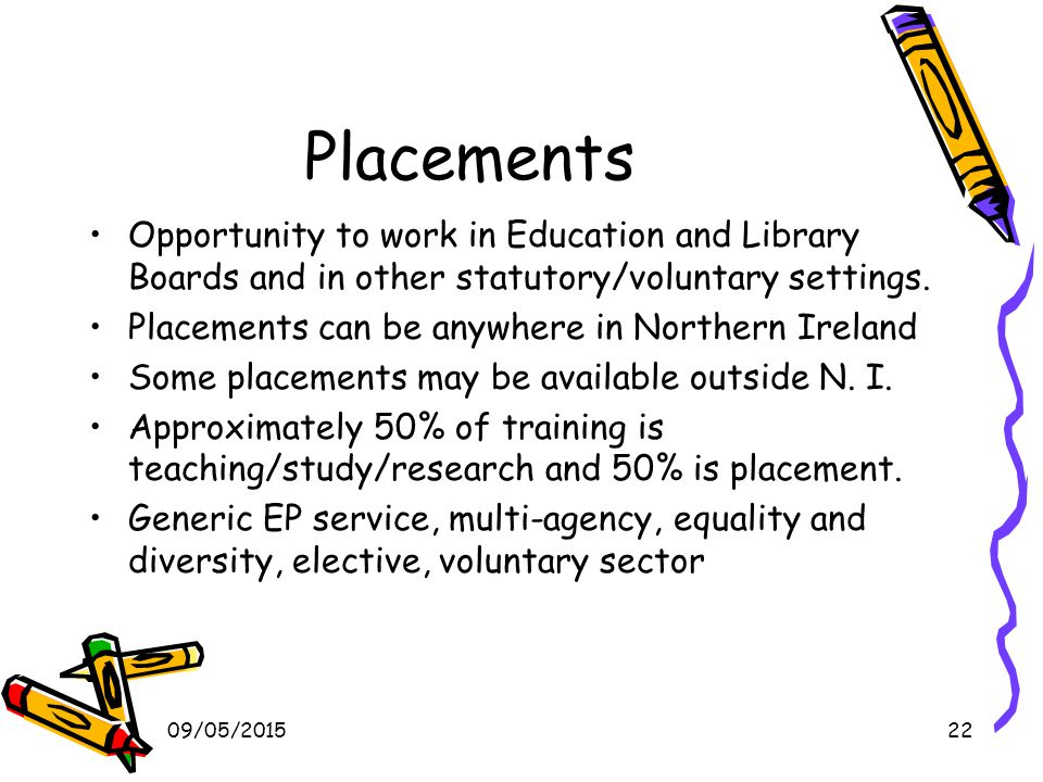 09/05/201522 Placements Opportunity to work in Education and Library Boards and in other statutory/voluntary settings.