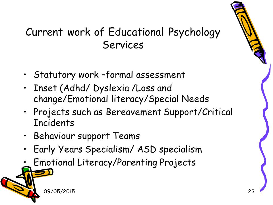 09/05/201523 Current work of Educational Psychology Services Statutory work –formal assessment Inset (Adhd/ Dyslexia /Loss and change/Emotional literacy/Special Needs Projects such as Bereavement Support/Critical Incidents Behaviour support Teams Early Years Specialism/ ASD specialism Emotional Literacy/Parenting Projects