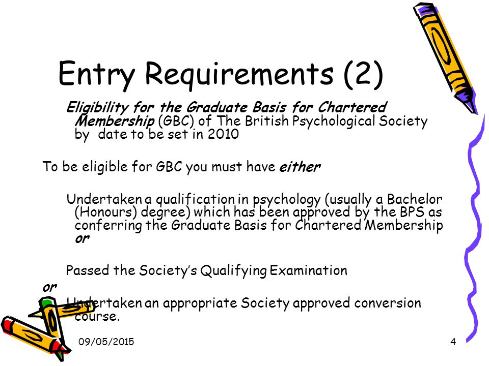 09/05/20155 Entry Requirements (3) Be able to demonstrate that you have gained relevant experience with children and young people (0-19 age range) within educational, childcare health or community settings