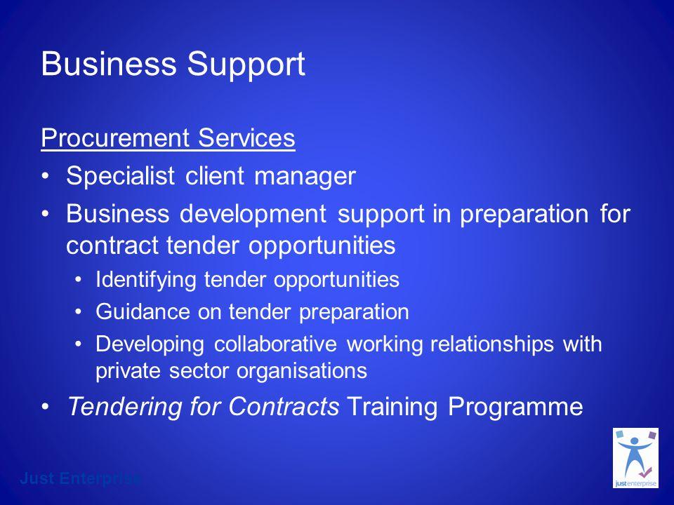Just Enterprise Business Development Workshops Financial Management for Third Sector organisations Tendering for Contracts Business Development Workshops Costing/Pricing Marketing Business Planning