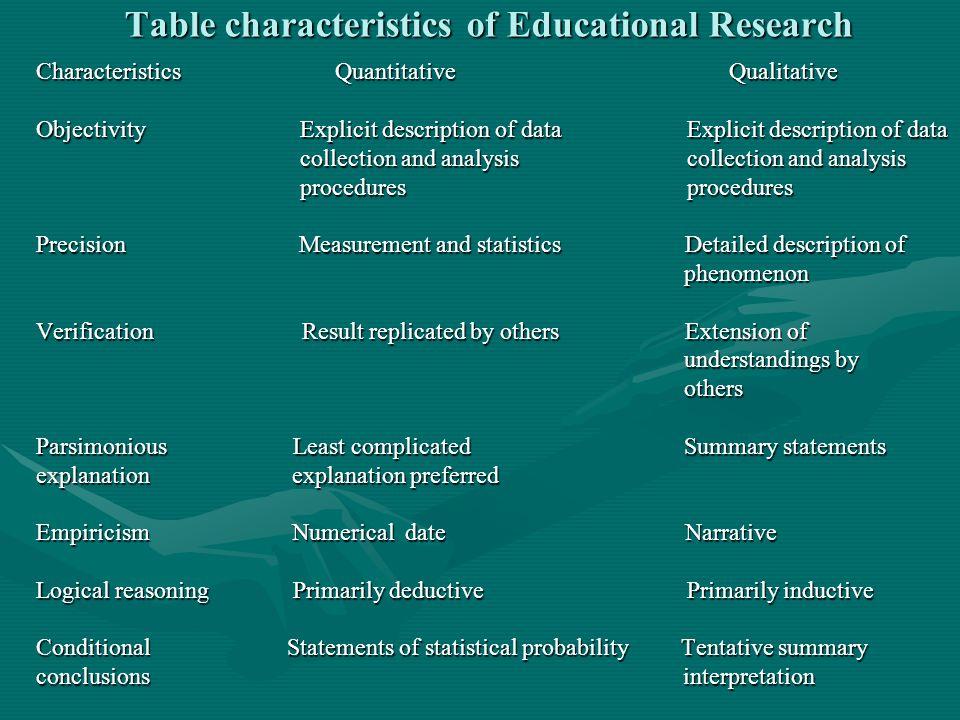 Table characteristics of Educational Research Characteristics Quantitative Qualitative Objectivity Explicit description of data Explicit description o