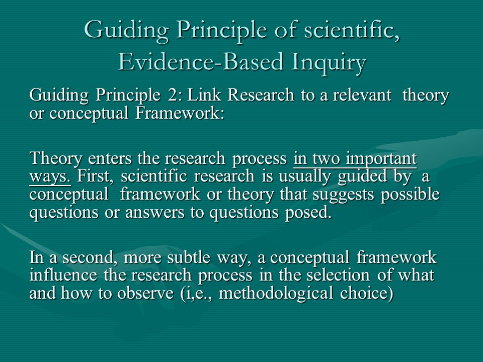 Guiding Principle of scientific, Evidence-Based Inquiry Guiding Principle 2: Link Research to a relevant theory or conceptual Framework: Theory enters