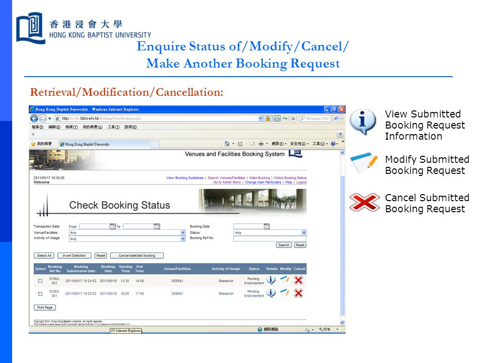 Enquire Status of/Modify/Cancel/ Make Another Booking Request Retrieval/Modification/Cancellation: View Submitted Booking Request Information Modify S