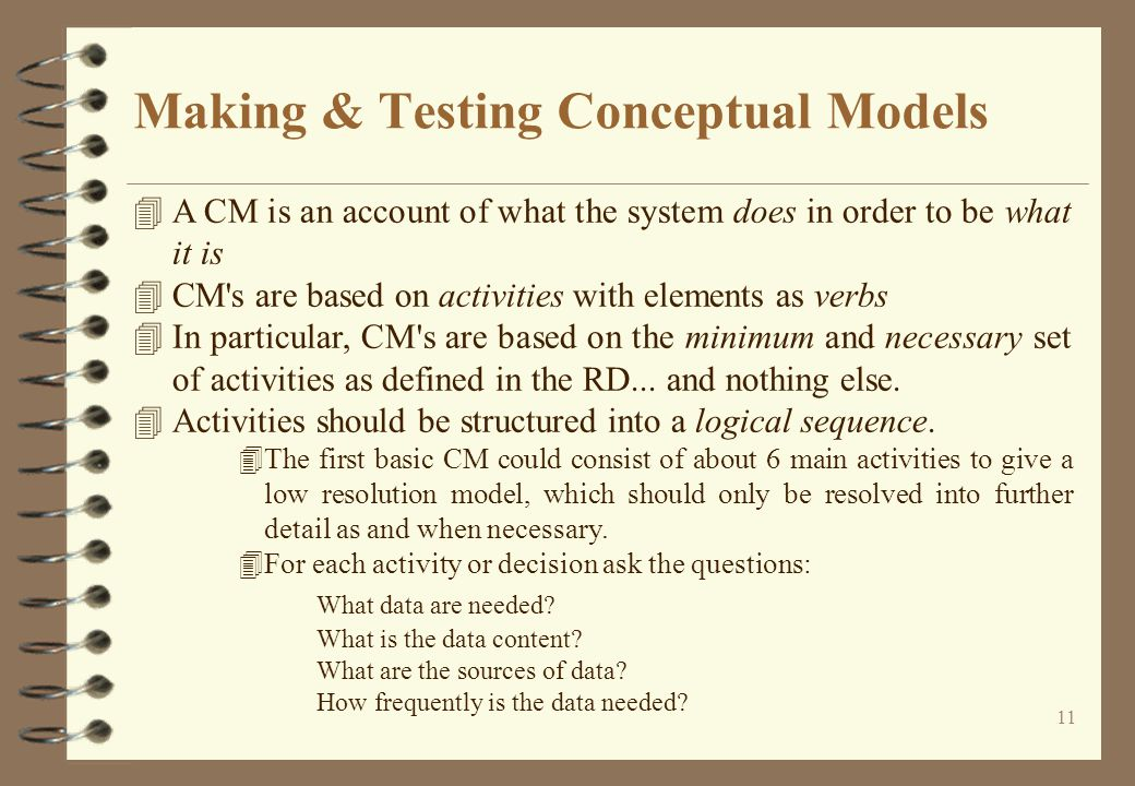 11 Making & Testing Conceptual Models 4A CM is an account of what the system does in order to be what it is 4CM s are based on activities with elements as verbs 4In particular, CM s are based on the minimum and necessary set of activities as defined in the RD...