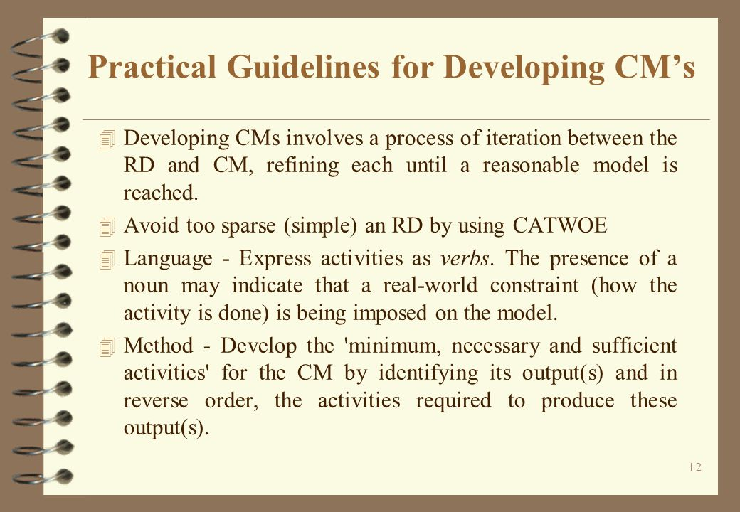 12 Practical Guidelines for Developing CM's 4 Developing CMs involves a process of iteration between the RD and CM, refining each until a reasonable model is reached.