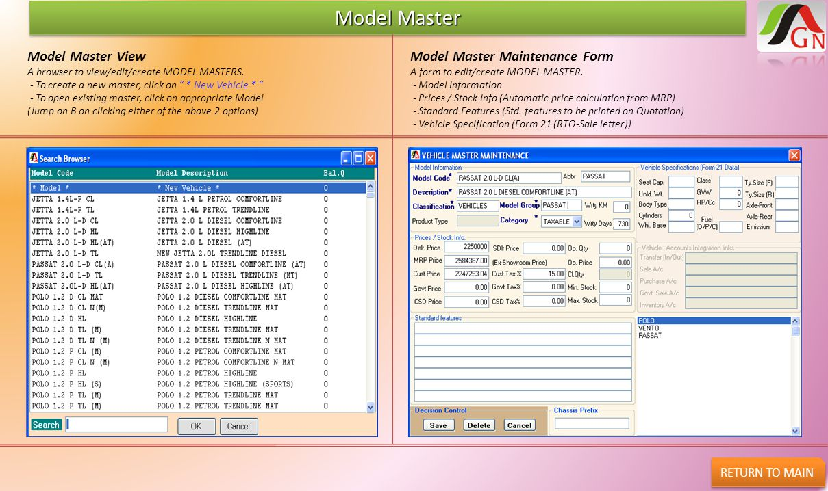 """Model Master Model Master RETURN TO MAIN Model Master View A browser to view/edit/create MODEL MASTERS. - To create a new master, click on """" * New Veh"""