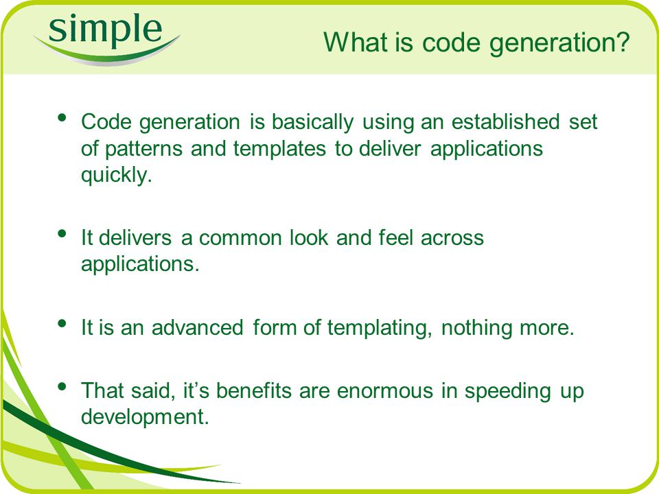 What is code generation.