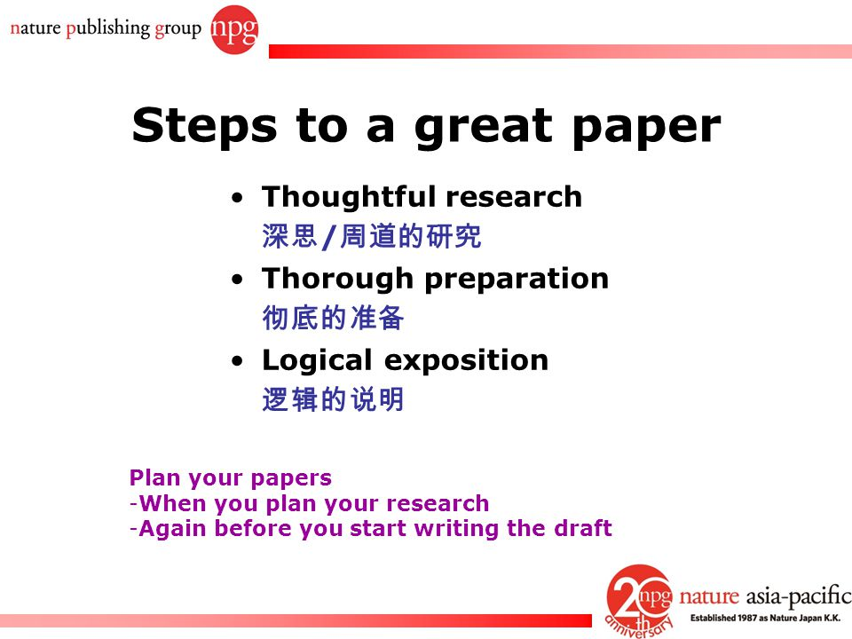 Rachel PC Won Steps to a great paper Thoughtful research 深思 / 周道的研究 Thorough preparation 彻底的准备 Logical exposition 逻辑的说明 Plan your papers -When you pla