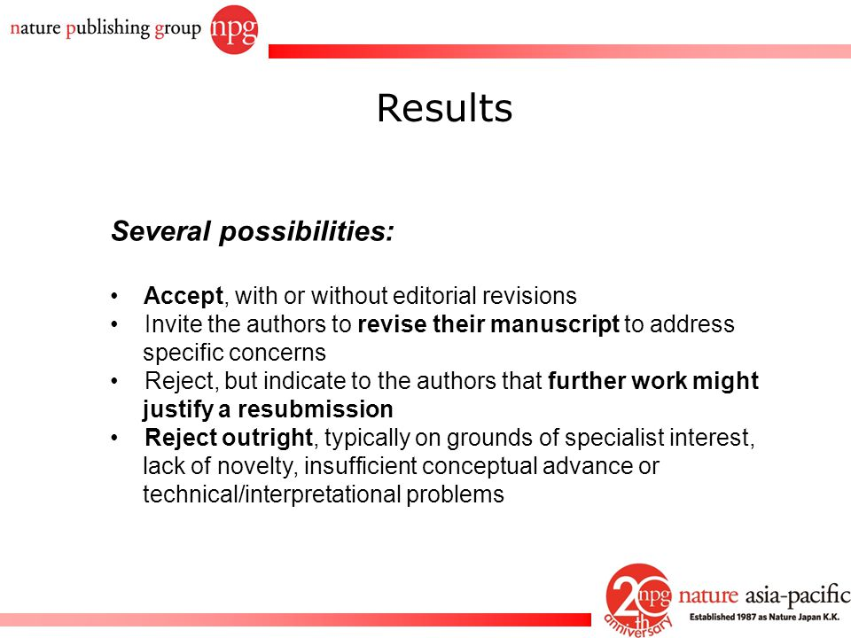 Rachel PC Won Results Several possibilities: Accept, with or without editorial revisions Invite the authors to revise their manuscript to address spec