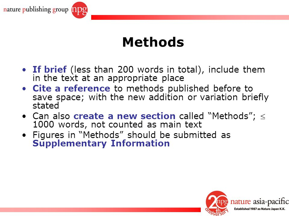 Rachel PC Won Methods If brief (less than 200 words in total), include them in the text at an appropriate place Cite a reference to methods published