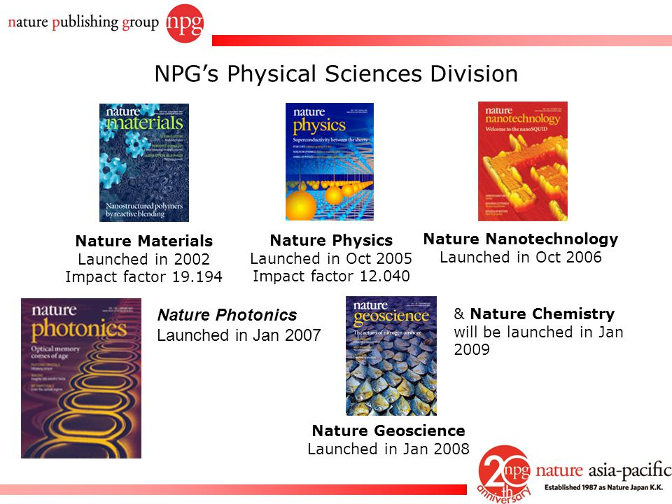 Rachel PC Won Nature Research Journals Nature Biotechnology Nature Cell Biology Nature Chemical Biology Nature Genetics Nature Geoscience (Jan 2008) Nature Immunology Nature Materials Nature Medicine Nature Methods Nature Nanotechnology Nature Neuroscience Nature Photonics (Jan 2007) Nature Physics Nature Protocol Nature Structural and Molecular Biology Nature Chemistry (Jan 2009) Nature Review Journals Nature Reviews Cancer Nature Reviews Drug Discovery Nature Reviews Genetics Nature Reviews Immunology Nature Reviews Microbiology Nature Reviews Molecular Cell Biol.