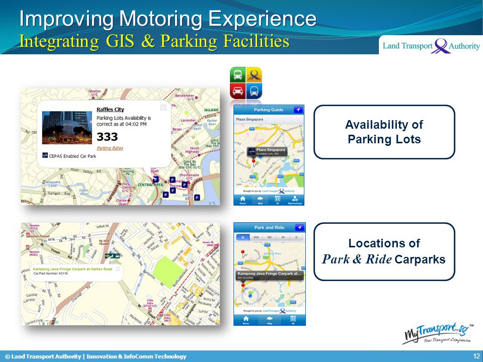 © Land Transport Authority | Innovation & InfoComm Technology Improving Motoring Experience Integrating GIS & Parking Facilities 12 Availability of Parking Lots Locations of Park & Ride Carparks