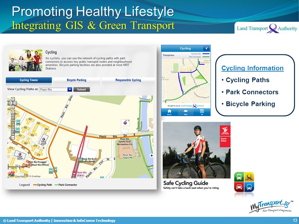 © Land Transport Authority | Innovation & InfoComm Technology Promoting Healthy Lifestyle Integrating GIS & Green Transport 13 Cycling Information Cyc