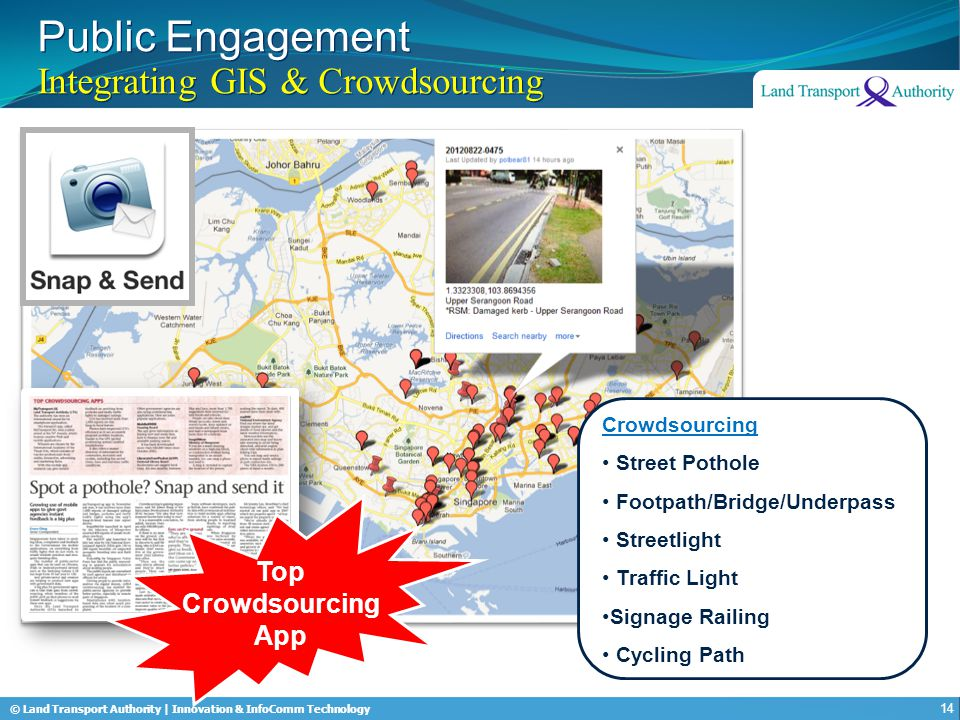 © Land Transport Authority | Innovation & InfoComm Technology Top Crowdsourcing App Public Engagement Integrating GIS & Crowdsourcing 14 Crowdsourcing