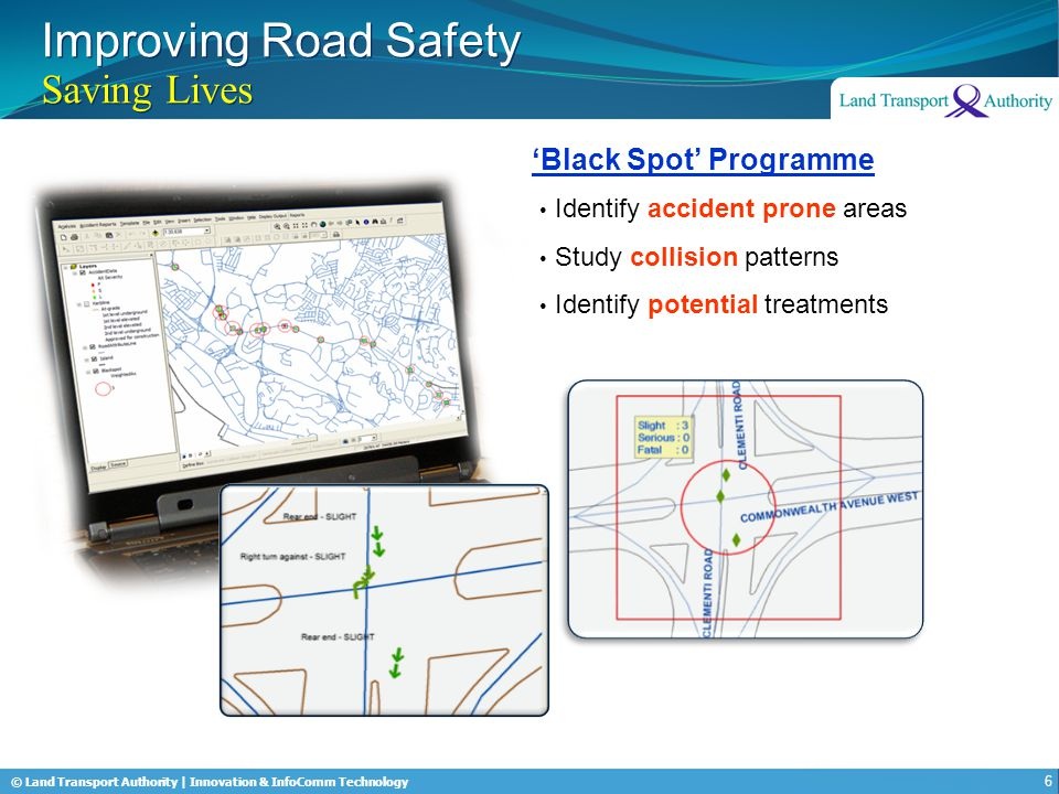 © Land Transport Authority | Innovation & InfoComm Technology Improving Road Safety Saving Lives Expressways 90% Junctions 66% Singapore has one of the lowest accident fatality rates in the world 7 Reduced Accident Rate Prince Michael International Road Safety Award (UK)