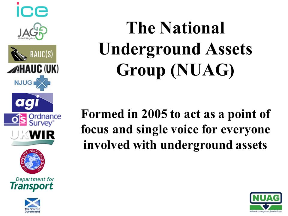 The National Underground Assets Group (NUAG) Formed in 2005 to act as a point of focus and single voice for everyone involved with underground assets
