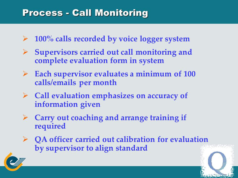 Process – Quality Assurance Regular call monitoring Management Information Report Complaint from caller/department Supervisor / Manager observation Call evaluation and calibration Identify and prioritize areas for improvement Agent coaching Refresher training Knowledge base update Procedure review System enhancement