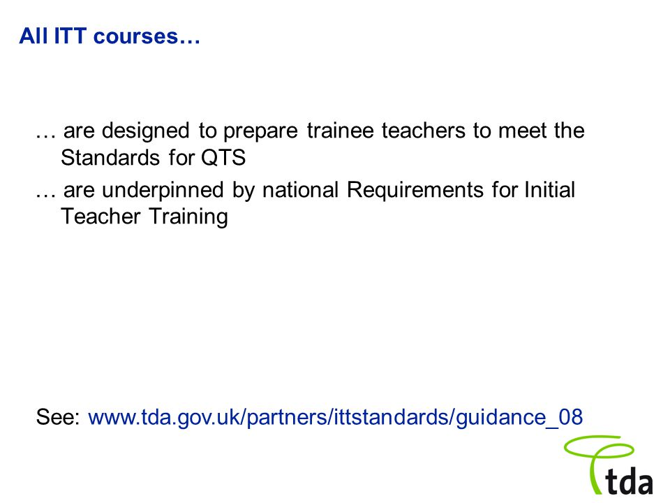 All ITT providers must ensure… … that training programmes … provide trainee teachers with sufficient time being trained in schools and/or other settings to enable them to demonstrate that they have met the QTS standards.