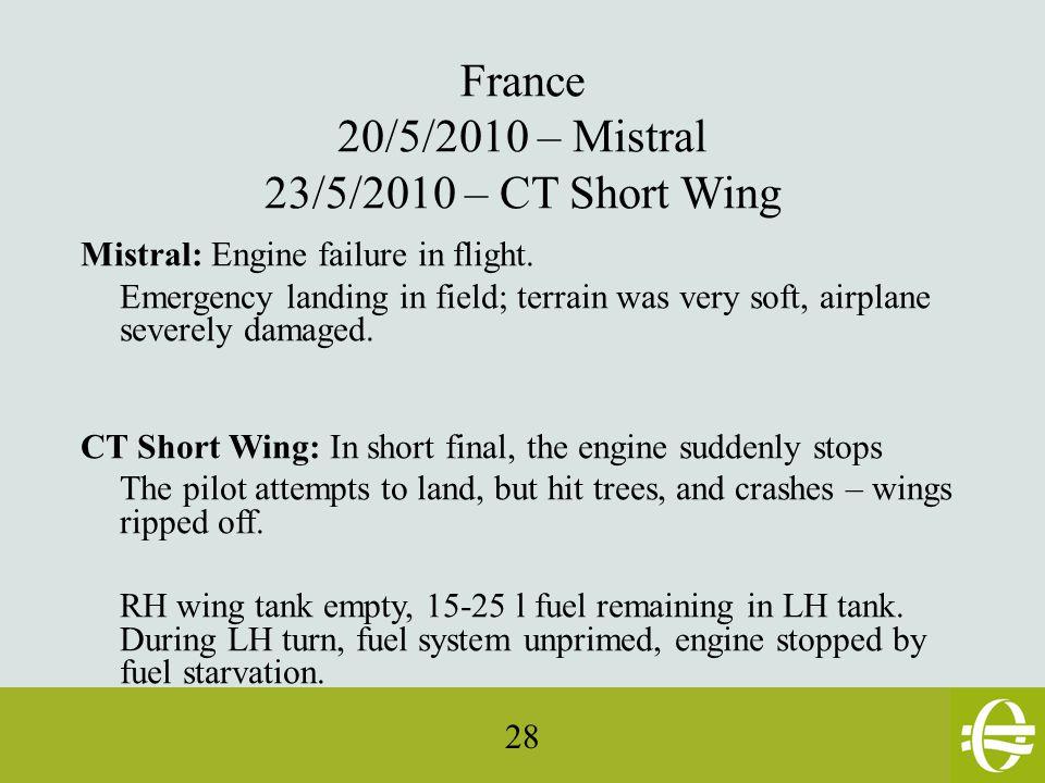 28 France 20/5/2010 – Mistral 23/5/2010 – CT Short Wing Mistral: Engine failure in flight.