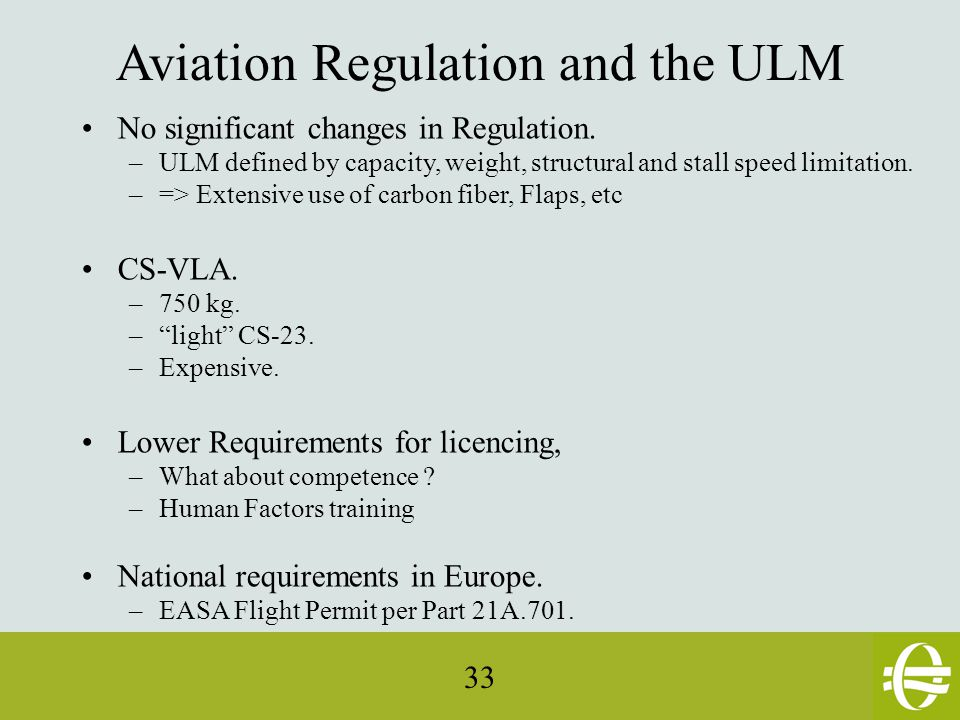 33 Aviation Regulation and the ULM No significant changes in Regulation.