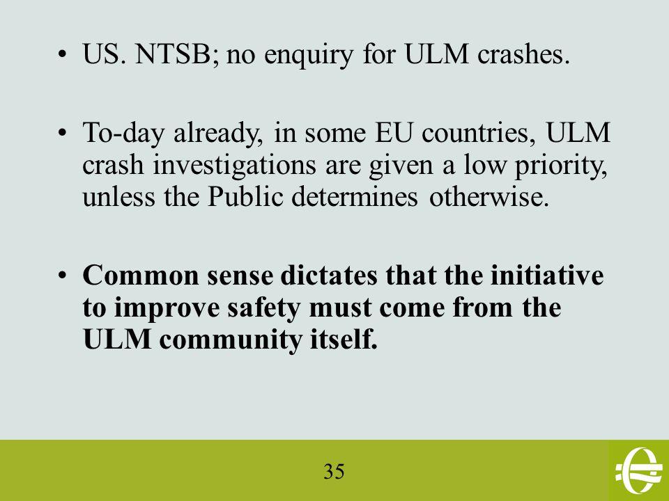 35 US. NTSB; no enquiry for ULM crashes.